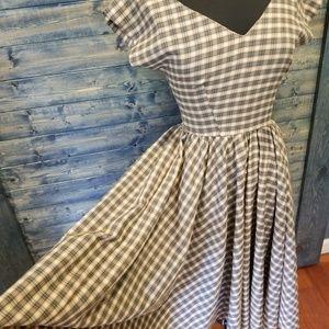 Vtg Rockabilly Plaid Dress